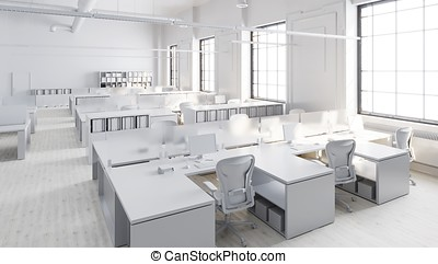 White modern office space  with desks and chairs