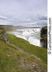 Gullfoss - Iceland. Gullfoss falls in area called Golden...