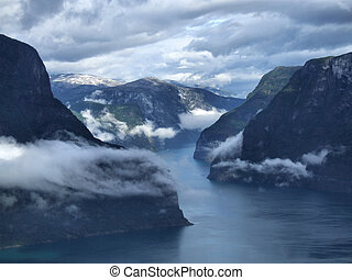 Fjord - Scenery near Flam and Aurland - Norway, Scandinavia,...