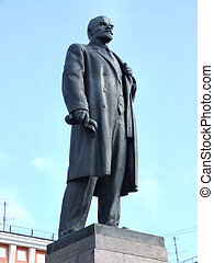 Lenin statue in Murmansk, Russia. Famous communist leader.