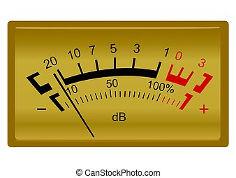 Retro stereo decibel meter isolated on white background -...