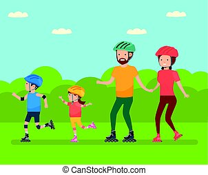 Family leisure. Family in the amusement Park Family - mom,...