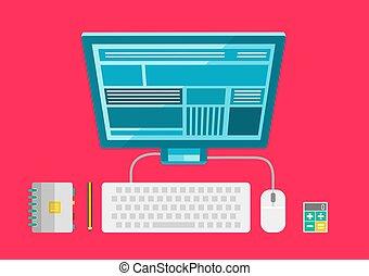 Vector workspace elements, modern flat design illustration
