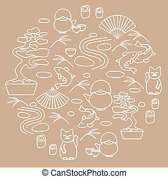 Cute vector illustration with bonsai tree, teapot with two cups, minimal rock garden, japanese lucky cat Maneki Neko, carp koi, fan, rolls, bamboo arranged in a circle.