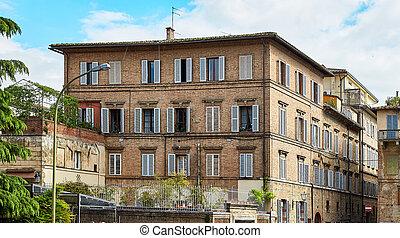 predios, histórico, Itália, cidade,  Siena
