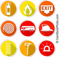 Fire Fighter Icons - 9 Easy-To-Use Fire Fighter Flat Icons...