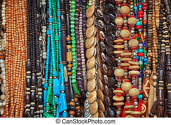 Beads made of different materials on market. India....