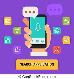 Concept Search for App Icons Hand Holding Mobile Phone
