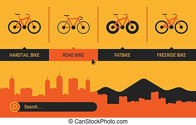 Site Header Different Bicycle Bikes Search Orange Yellow...