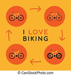 Concept I Love Biking Icons Different Bicycles. Vector...