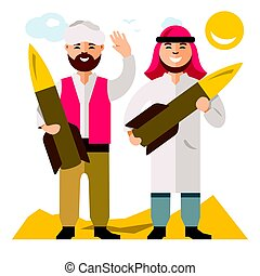 Vector People with warheads. Flat style colorful Cartoon...