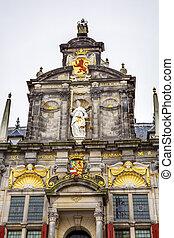 城市, 荷蘭, 荷蘭, 正義, 正面, 雕像, 代爾夫特, 大廳
