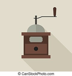 Coffee grinder in flat style