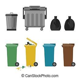plat, boîtes, déchets, icônes