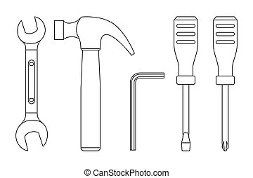 Tools line icons - Tools line drawings. Icons of...