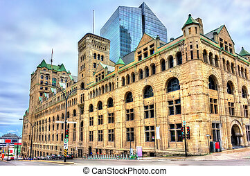 Gare Windsor, a heritage train station in Montreal, Canada -...