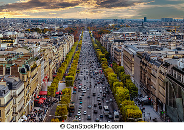 Paris, France - Champs Elysees cityscape.