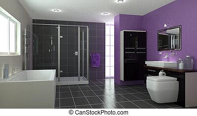 contemporâneo, banheiro, Interior