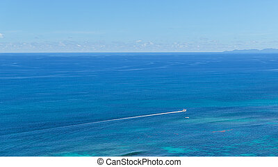 boat sailing in ocean or sea - travel, tourism and seascape...