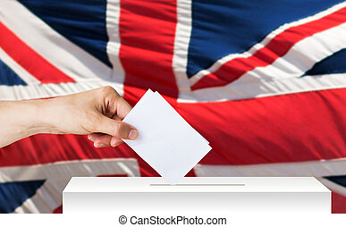 hand of englishman with ballot and box on election - voting,...