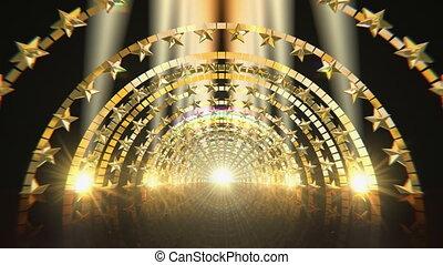 Golden Star Gate Stage - Golden arc gate stage video...