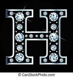 H vector letter made with diamonds isolated on black background