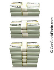 set of dollar bank notes packed money vector illustration...