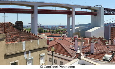 25th of April Bridge over the Tagus river in Lisbon -...