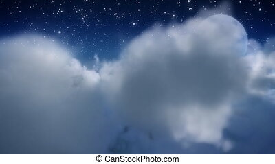 Cloud fly through with moon - 3D render A flight out of and...