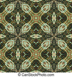 Abstract seamless reptile pattern with green, brown and red scalloped reptile texture