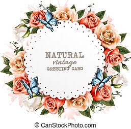 Holiday vintage greeting card with a beautiful roses and butterflies. Vector.