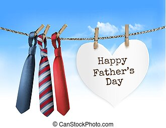 Happy Father's Day Background With A Three Ties On Rope....