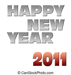Happy new year 2011 label on white background