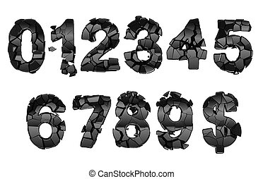 Broken 0-9 font numerals isolated on white