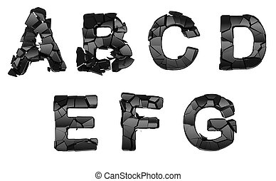 Broken A-G font letters isolated on white