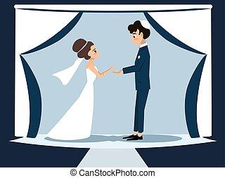 young jewish couple at chuppah - funny vector cartoon...