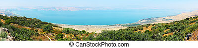 Panorama of Kinneret entirely, top view Mitzpe-le-Shalom on...