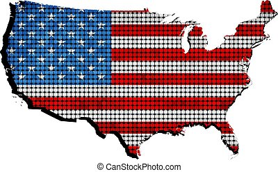 USA grunge map with flag inside