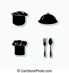 modelos, jogo, garfo, marca, mão, cozinheiro, colher, pote, desenho, chapéu, desenhado,  cloche, adesivos, ou, identidade, estoque