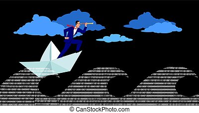 Stormy sea of technology - Businessman in a paper boat...