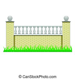 Brick fence wall decorated with balusters for landscape scene design