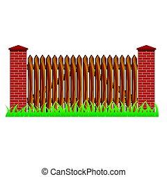 Farm brick fence wall for landscape scene design