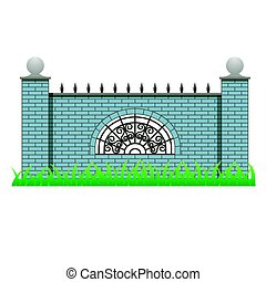 Brick fence wall with pillars and decorative grille