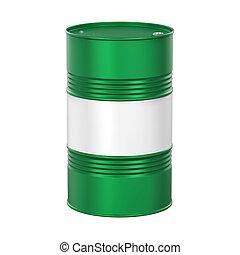 Green Oil Drum Isolated - Green Oil Drum isolated on white...