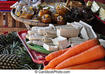Tofu on market - Tofu and vegetables on the market in Hoi...