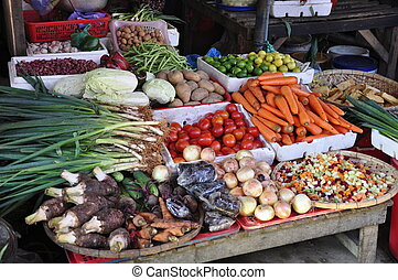 Vegetables on market - Vegetables for sale on the market in...