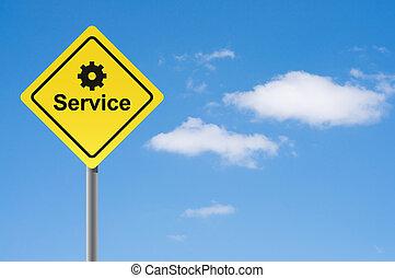 Sign service sky background.