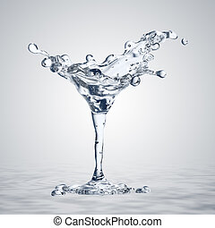 3D rendering of the martini glass with water drops. Water...
