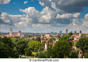 Vilnius oldtown, lithuanian capital city cityscape, a view...