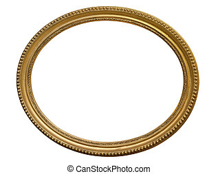 Gold oval picture frame. Isolated over white